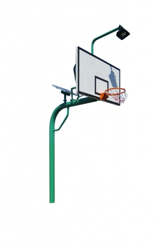 Solar power buried round pipe  basketball stand